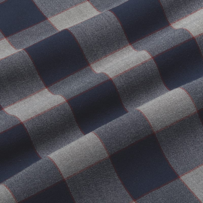City Flannel - Navy Large Check, fabric swatch closeup