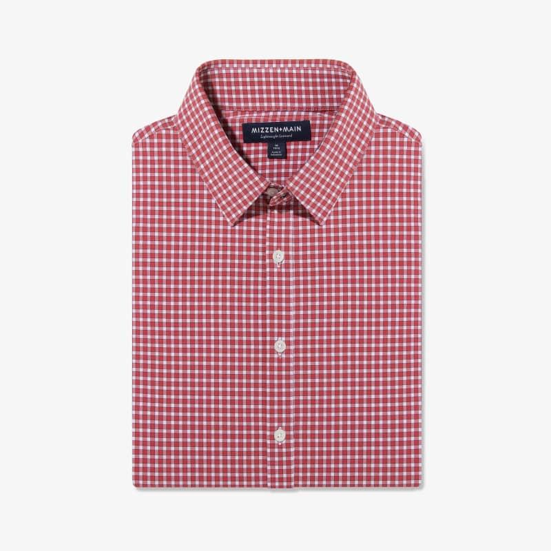 Lightweight Leeward Dress Shirt - Red Gingham, featured product shot