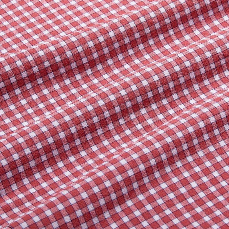 Lightweight Leeward Dress Shirt - Red Gingham, fabric swatch closeup