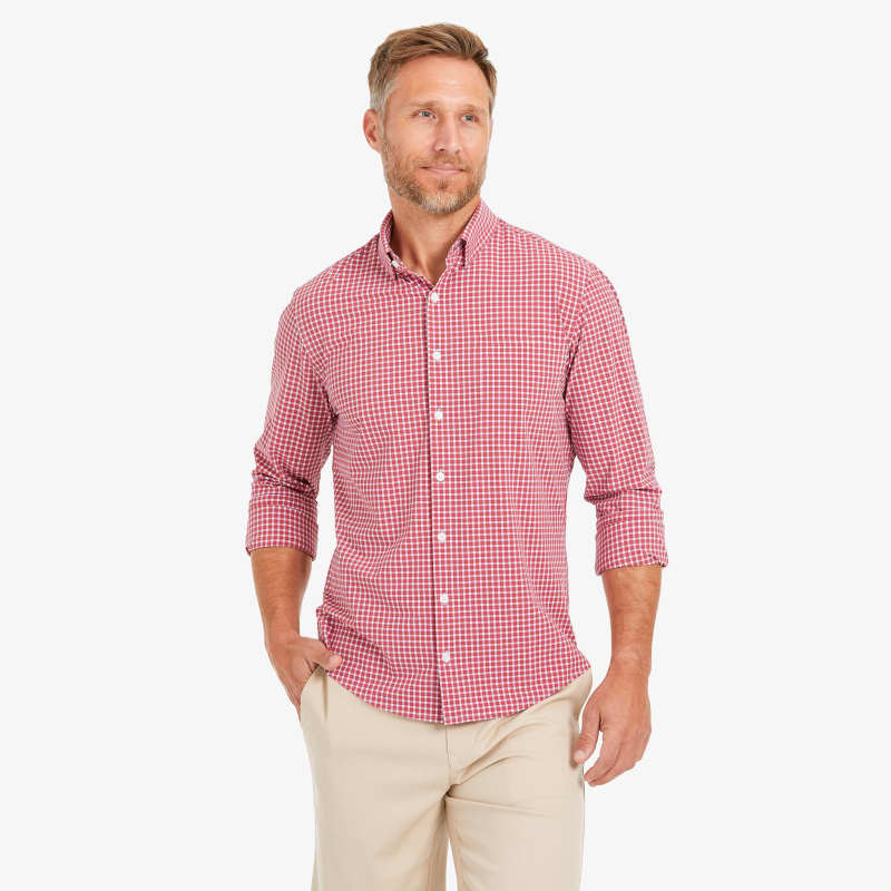 Lightweight Leeward Dress Shirt - Red Gingham, lifestyle/model
