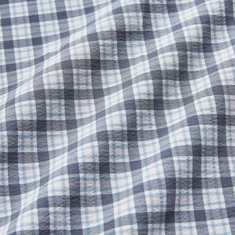 Leeward Popover - Pink Grey Multicheck, fabric swatch closeup