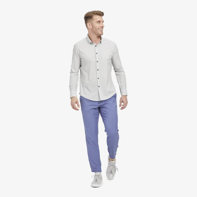 Leeward No Tuck Dress Shirt - Gray Geo Print, featured product shot