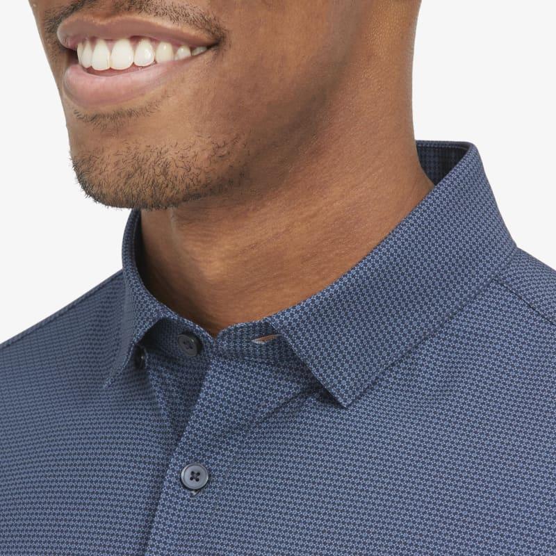 Leeward No Tuck Dress Shirt - Navy Light Blue GeoPrint, lifestyle/model