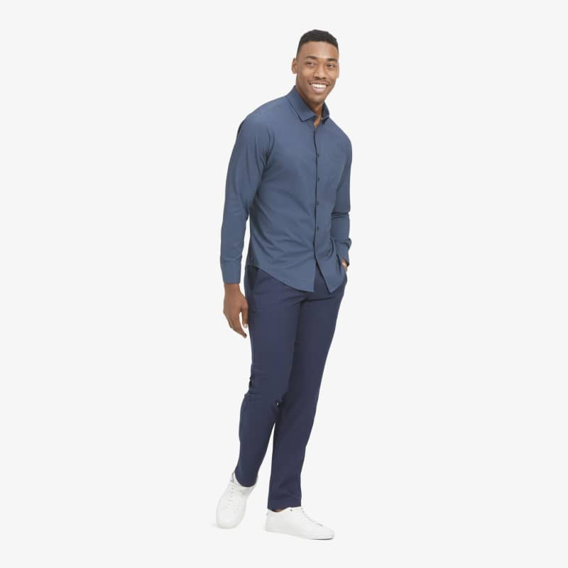 Leeward No Tuck Dress Shirt - Navy Light Blue GeoPrint, featured product shot