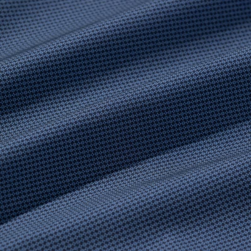 Leeward No Tuck Dress Shirt - Navy Light Blue GeoPrint, fabric swatch closeup