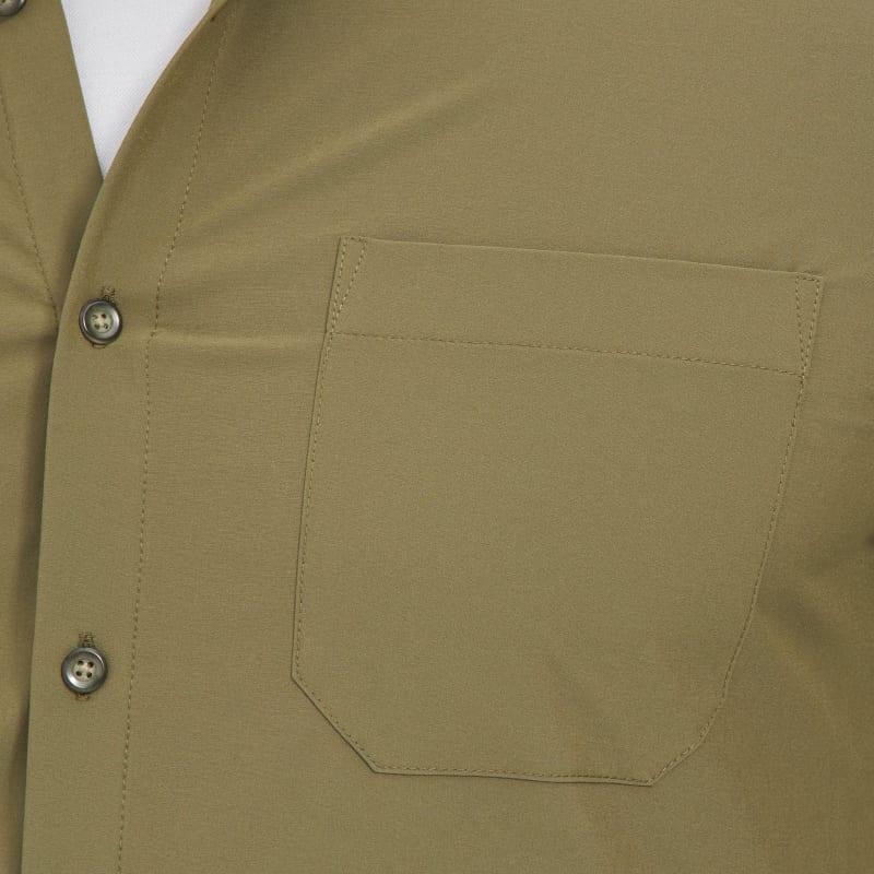 Leeward No Tuck Dress Shirt - Solid Olive, fabric swatch closeup