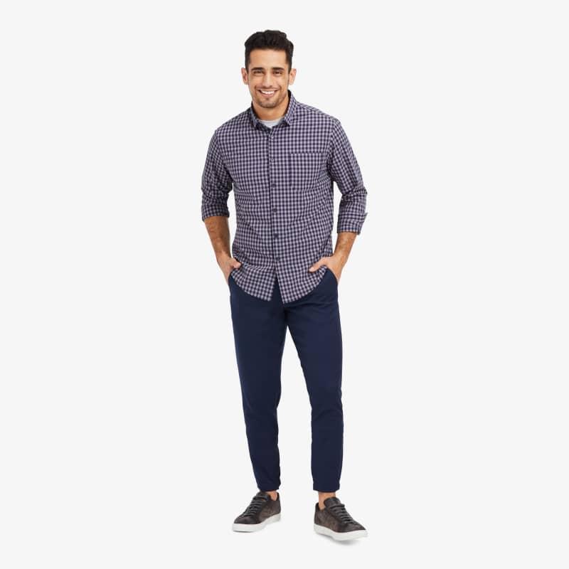 Leeward No Tuck Dress Shirt - Navy Gray GinghamCheck, lifestyle/model