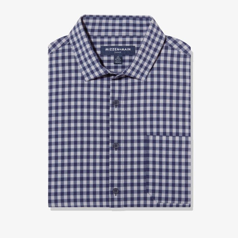 Leeward No Tuck Dress Shirt - Navy Gray GinghamCheck, featured product shot