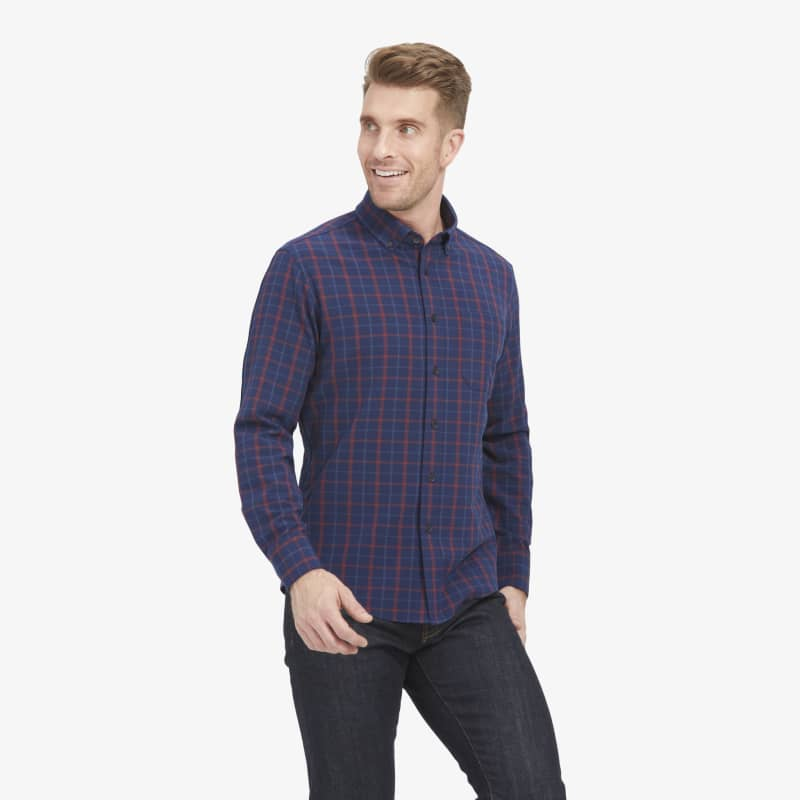 City Flannel - Navy Red Multi LargePlaid, lifestyle/model