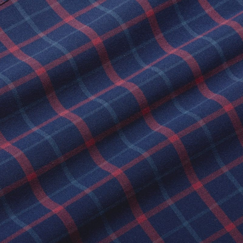 City Flannel - Navy Red Multi LargePlaid, fabric swatch closeup