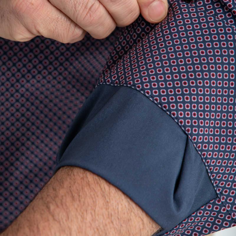 Leeward Dress Shirt - Navy Red DiamondPrint, lifestyle/model