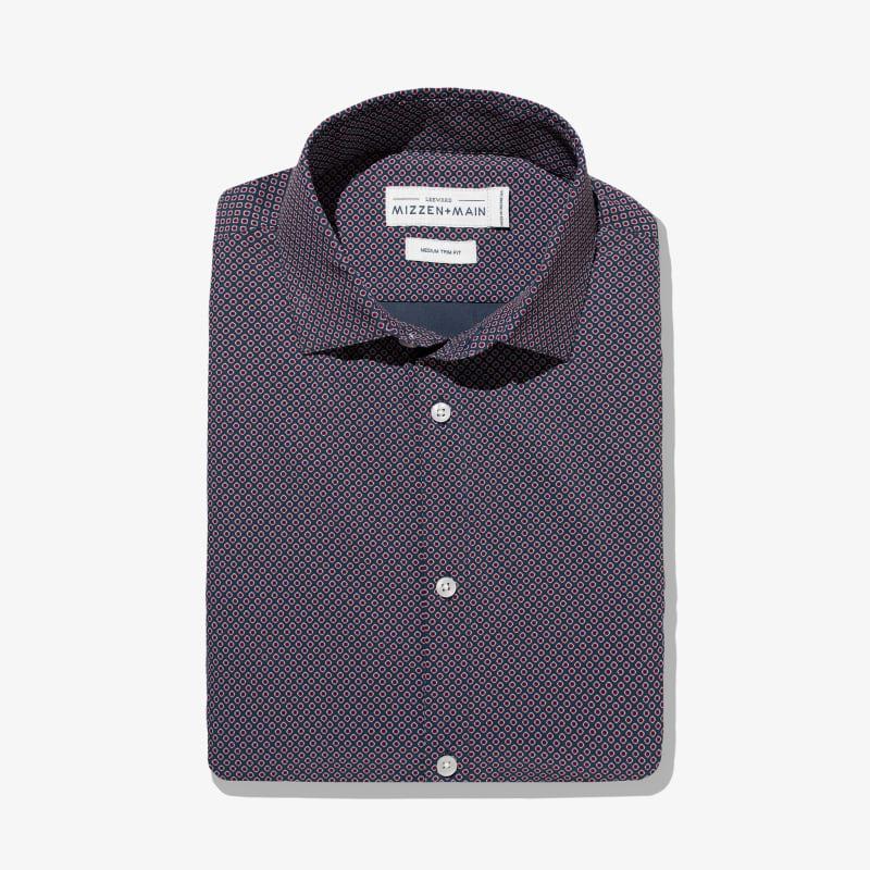 Leeward Dress Shirt - Navy Red DiamondPrint, featured product shot