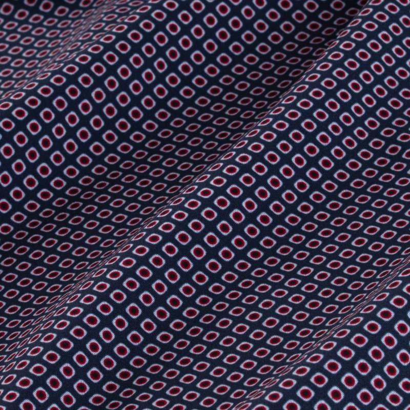 Leeward Dress Shirt - Navy Red DiamondPrint, fabric swatch closeup