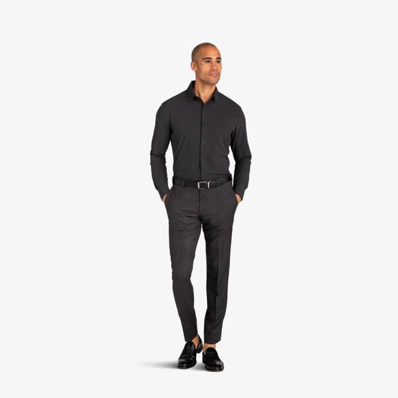 Leeward Dress Shirt - Gray Diamond GeoPrint, lifestyle/model