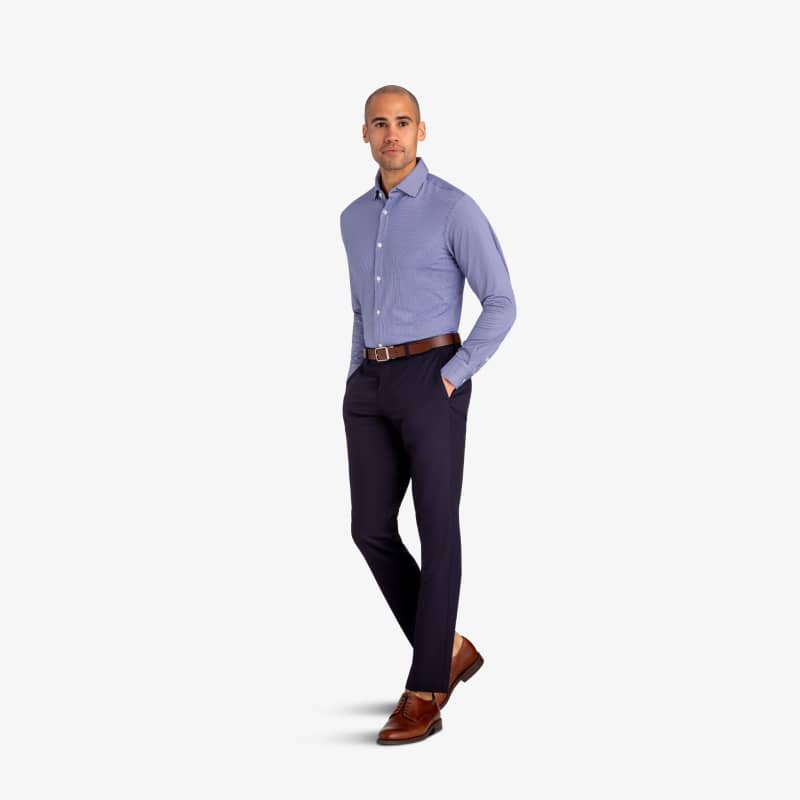 Spinnaker Dress Shirt - Blue Mini Gingham, lifestyle/model