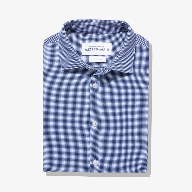 Spinnaker Dress Shirt - Blue Mini Gingham, featured product shot