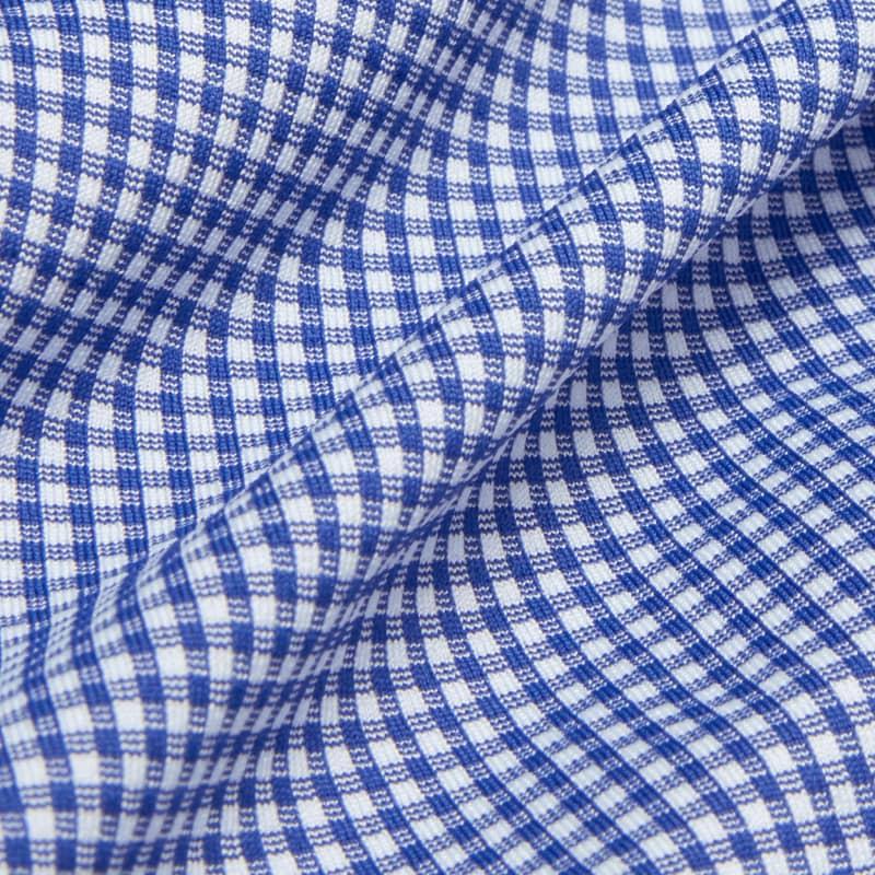 Spinnaker Dress Shirt - Blue Mini Gingham, fabric swatch closeup