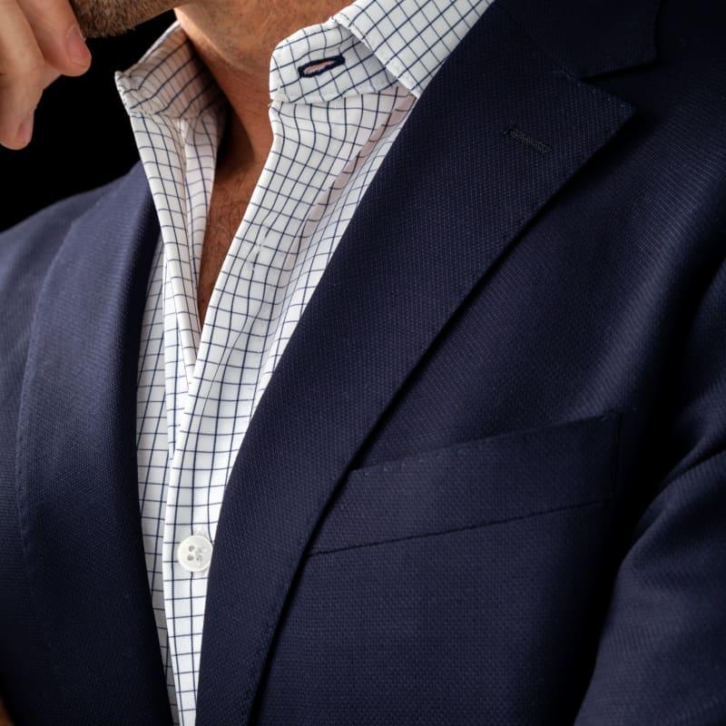 Leeward Dress Shirt - Navy Grid, lifestyle/model