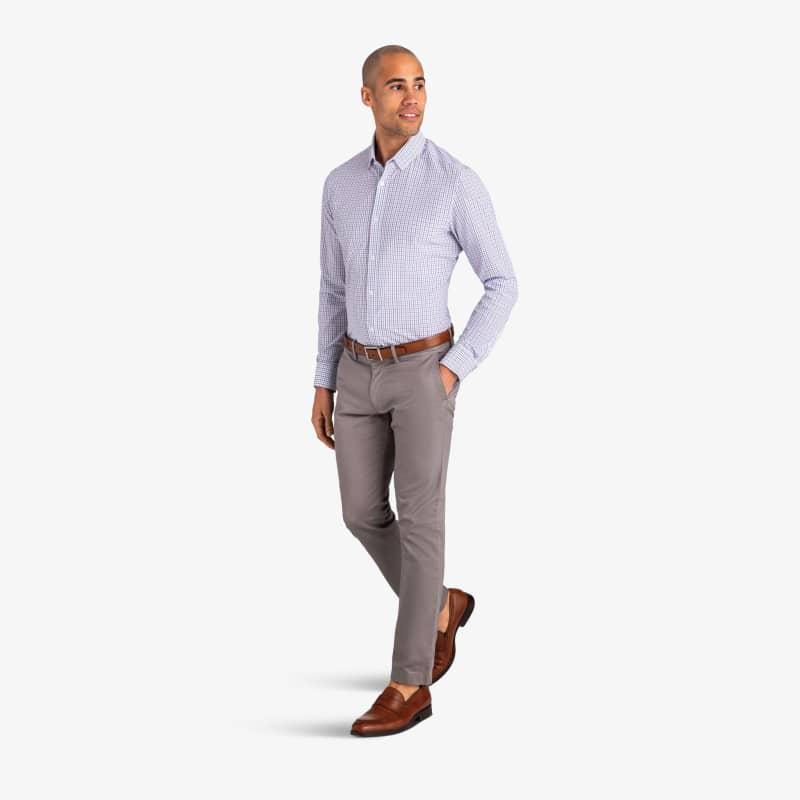 Leeward Dress Shirt - Light Blue NavyTattersall, lifestyle/model