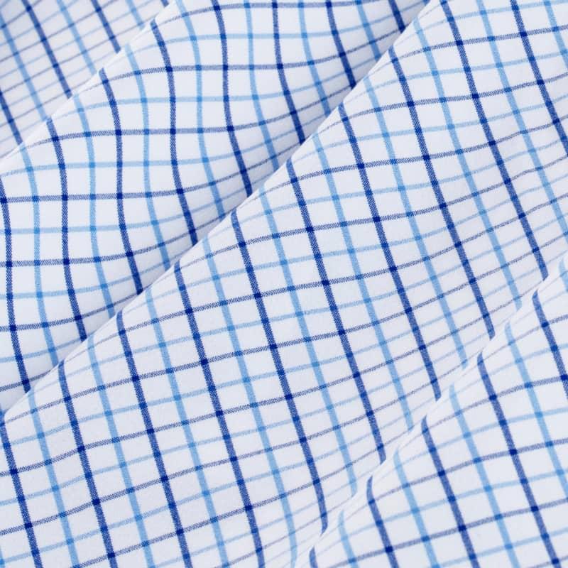 Leeward Dress Shirt - Light Blue NavyTattersall, fabric swatch closeup