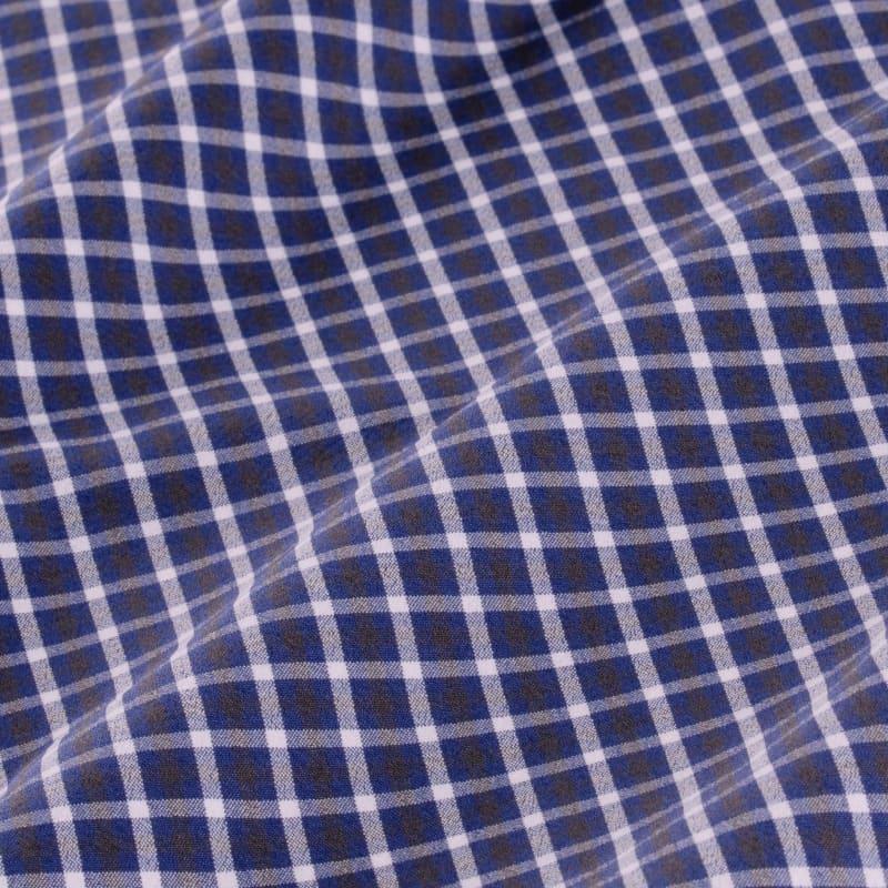 Leeward Dress Shirt - Navy Gray Check, fabric swatch closeup