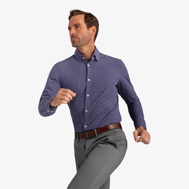 Leeward Dress Shirt - Navy Gray Check, lifestyle/model