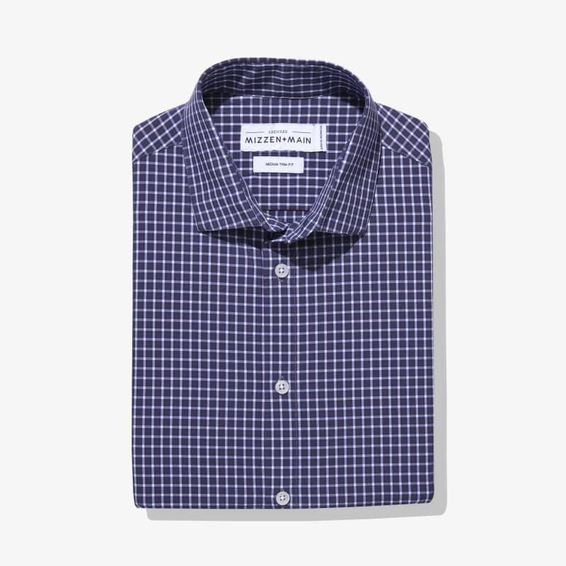 Leeward Dress Shirt - Navy Gray Check, featured product shot