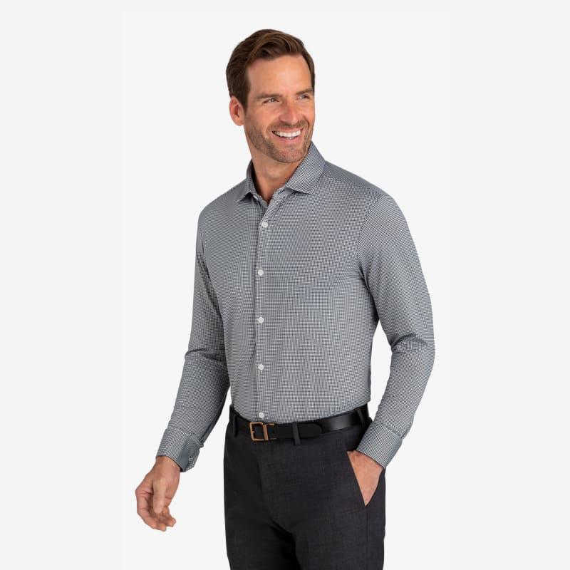 Spinnaker Dress Shirt - Gray Mini Gingham, lifestyle/model