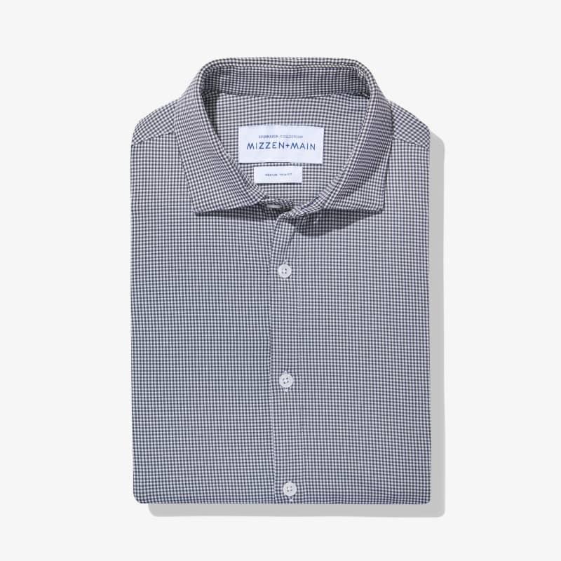 Spinnaker Dress Shirt - Gray Mini Gingham, featured product shot
