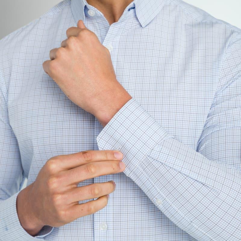 Leeward Dress Shirt - Navy Light BlueTattersall, lifestyle/model