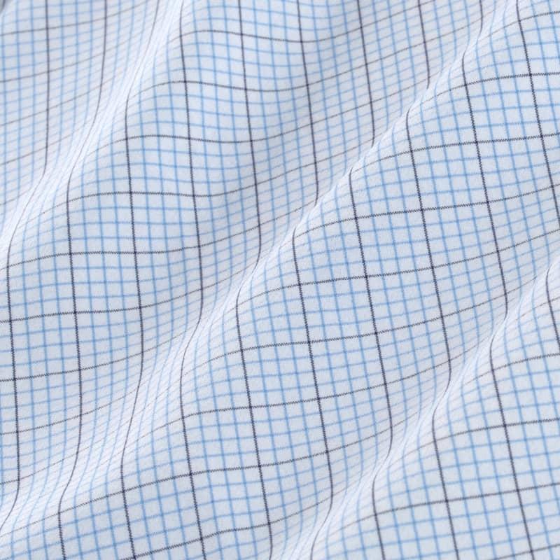 Leeward Dress Shirt - Navy Light BlueTattersall, fabric swatch closeup