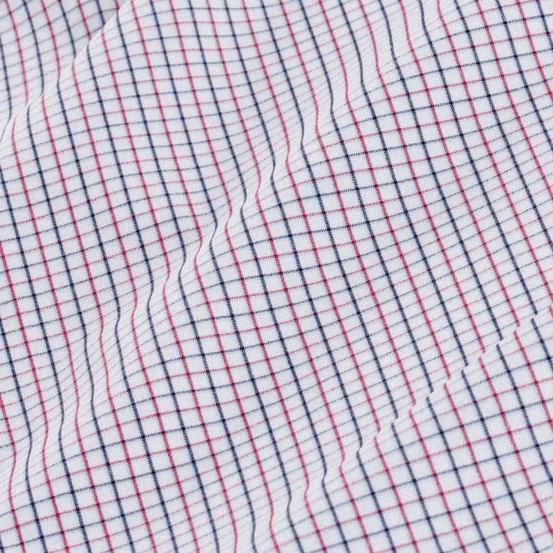 Leeward Dress Shirt - Red Blue Tattersall, fabric swatch closeup