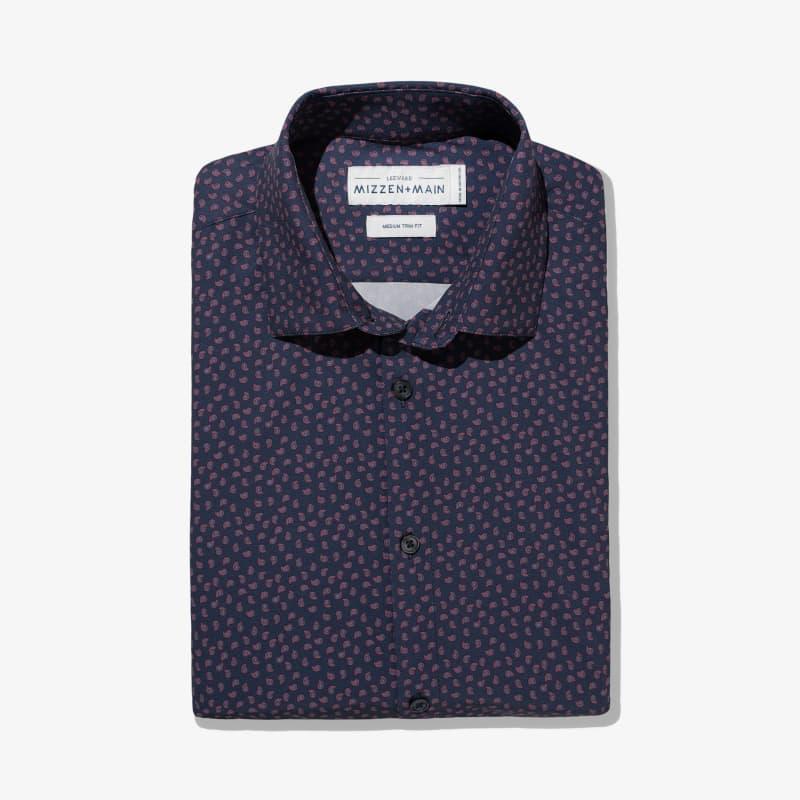 Leeward Dress Shirt - Navy Paisley Print, featured product shot