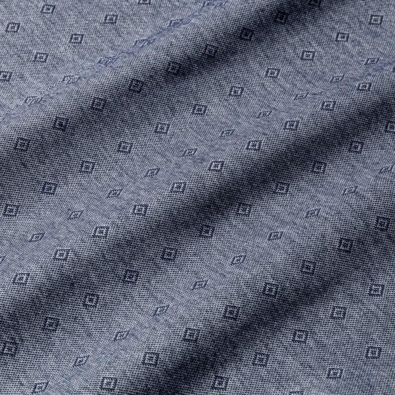 Halyard Short Sleeve - Navy Diamond DobbyPrint, fabric swatch closeup
