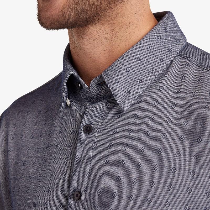 Halyard Short Sleeve - Navy Diamond DobbyPrint, lifestyle/model