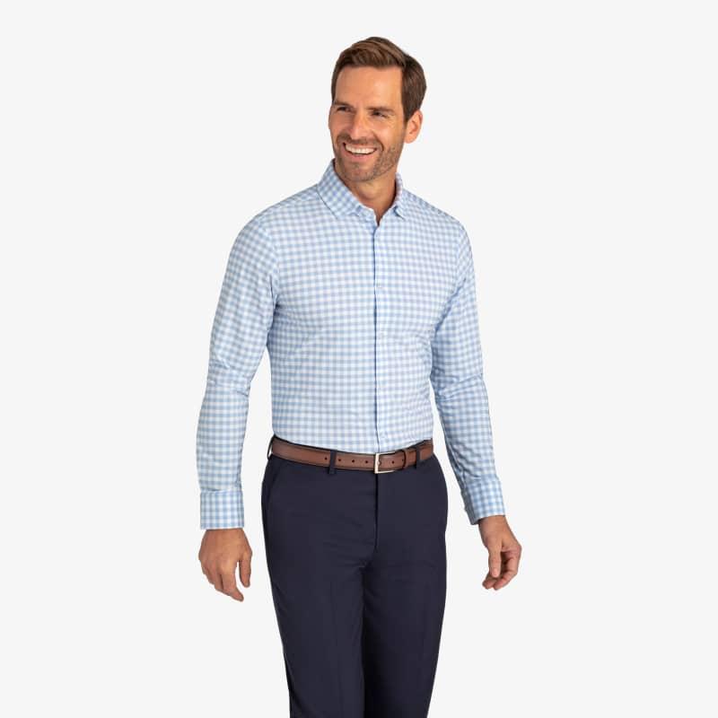 Leeward Dress Shirt - Light Blue Gingham, lifestyle/model