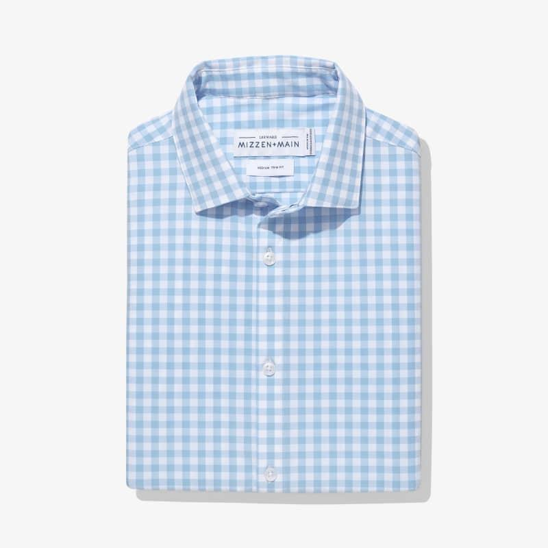 Leeward Dress Shirt - Light Blue Gingham, featured product shot