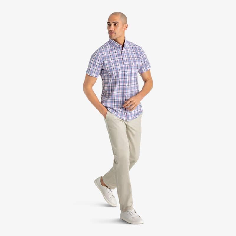 Leeward Short Sleeve - Blue Multi Plaid, lifestyle/model