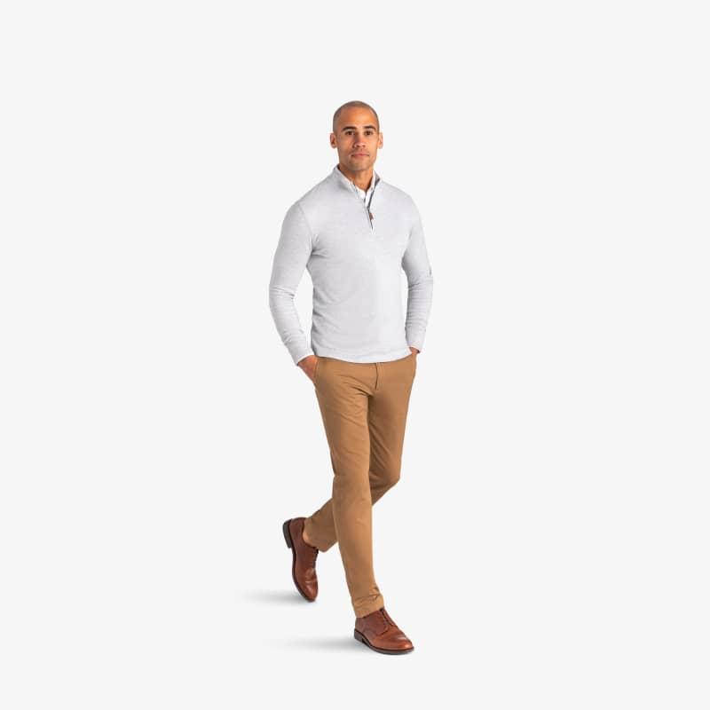 Fairway Pullover - Light Gray WhiteHeather, lifestyle/model