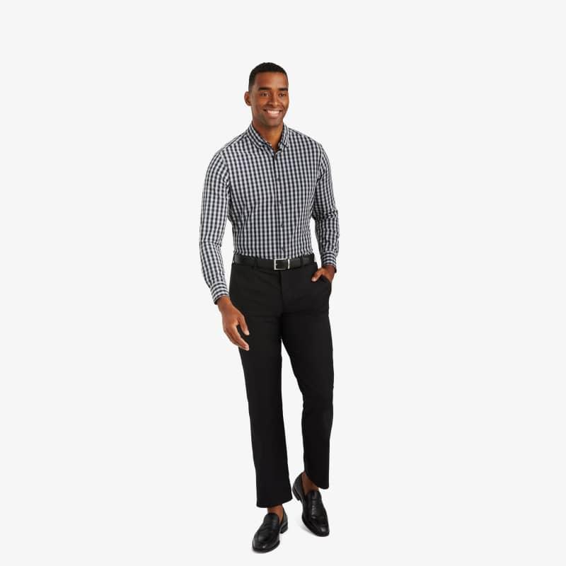 Leeward Dress Shirt - Black Gray Gingham, lifestyle/model
