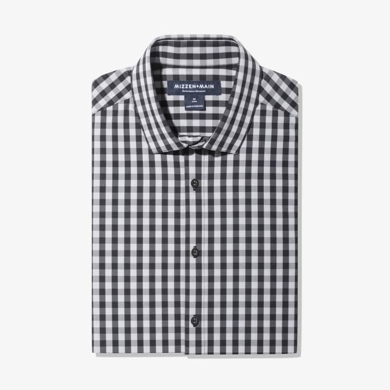 Leeward Dress Shirt - Black Gray Gingham, featured product shot