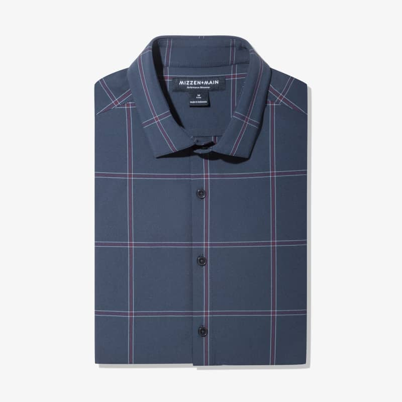 Leeward Dress Shirt - Navy Large Windowpane, featured product shot