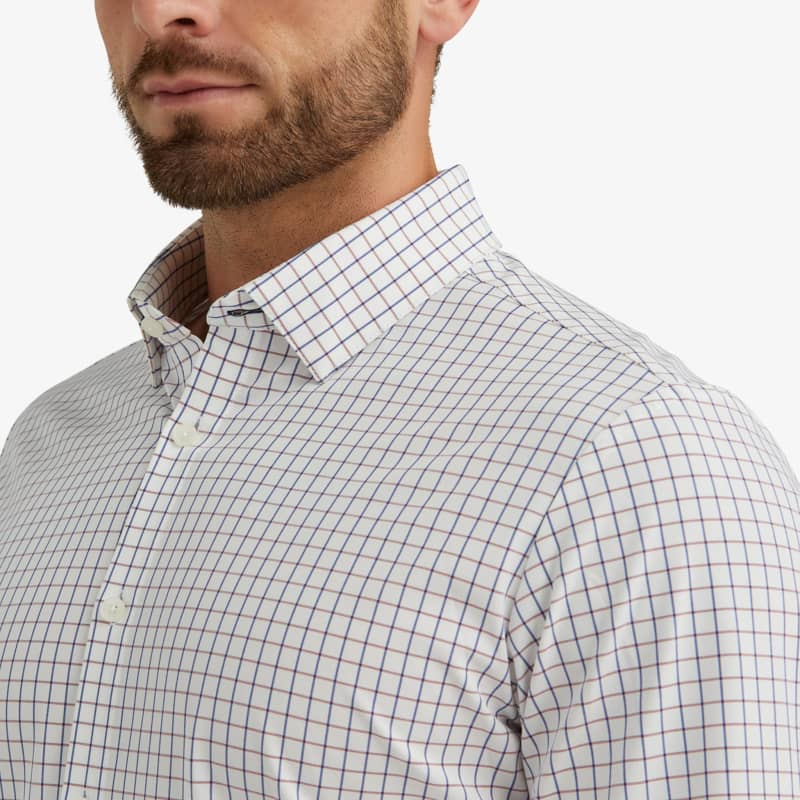 Leeward Dress Shirt - Red Navy Check, lifestyle/model