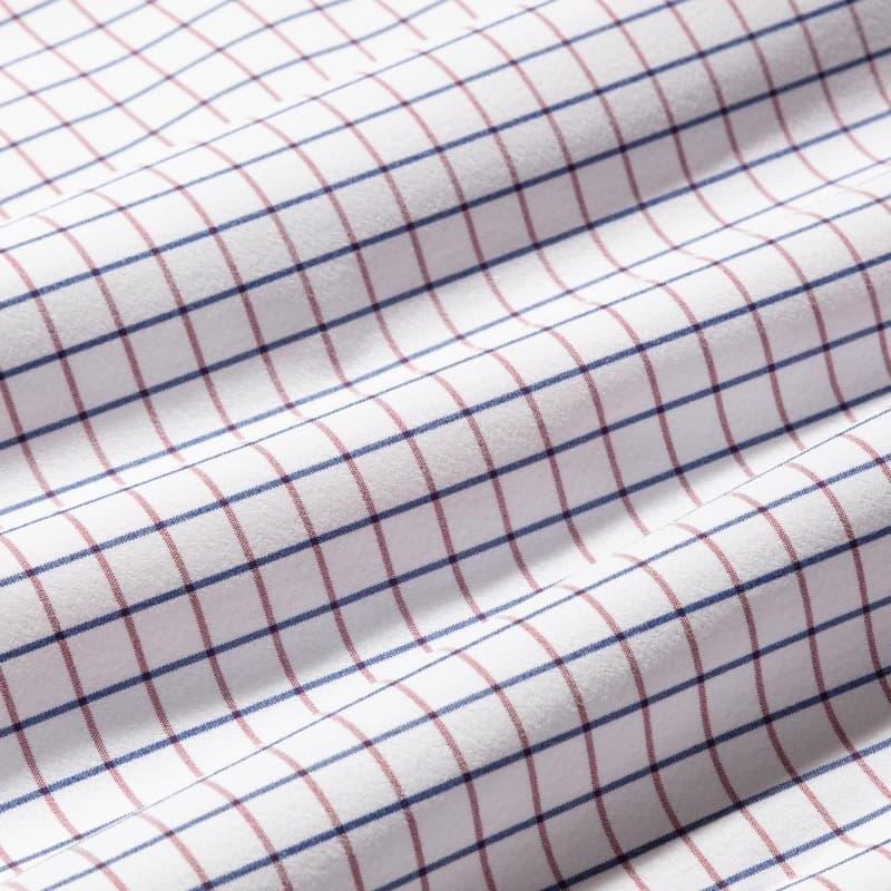 Leeward Dress Shirt - Red Navy Check, fabric swatch closeup