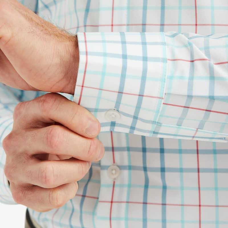 Leeward Dress Shirt - Niagara Multi Check, fabric swatch closeup