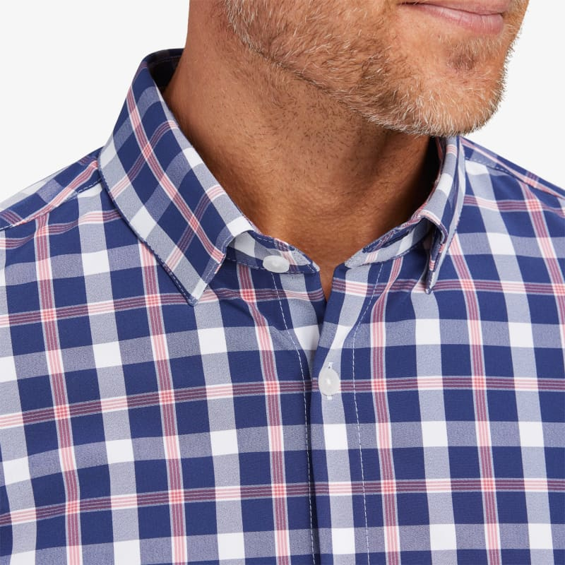 Leeward No Tuck Dress Shirt - Red Blue LargeCheck, lifestyle/model