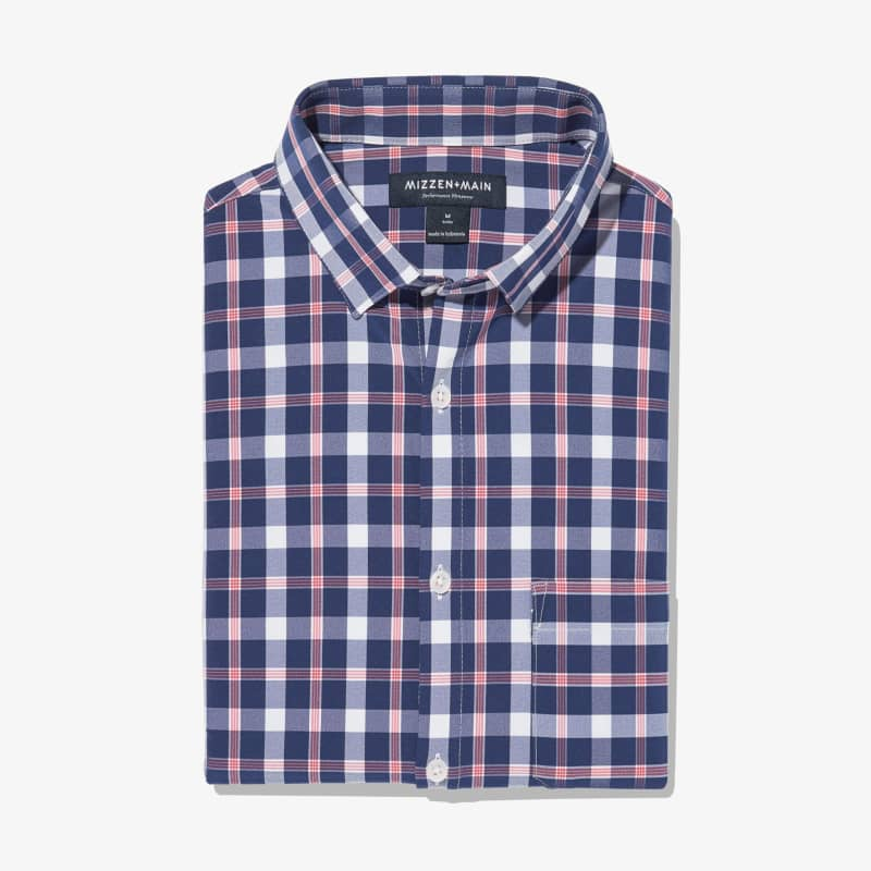 Leeward No Tuck Dress Shirt - Red Blue LargeCheck, featured product shot