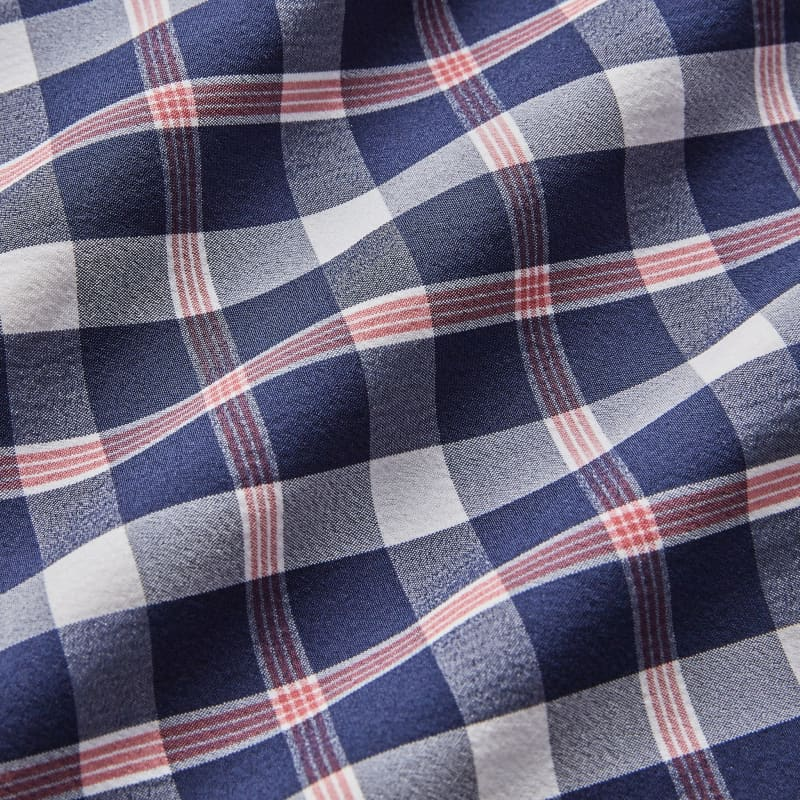 Leeward No Tuck Dress Shirt - Red Blue LargeCheck, fabric swatch closeup