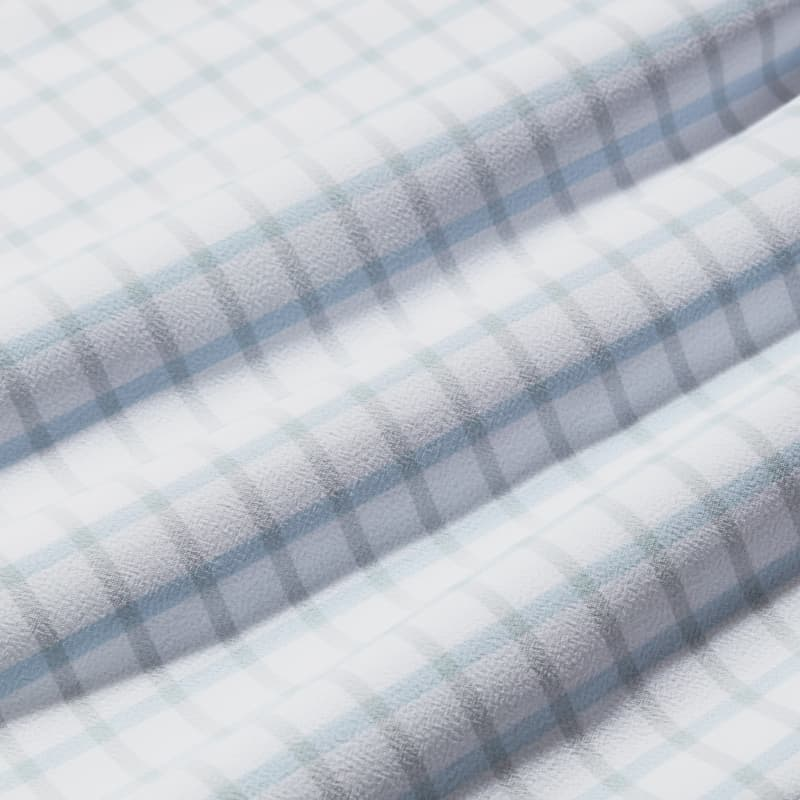 Leeward Dress Shirt - Light Blue GrayCheck, fabric swatch closeup