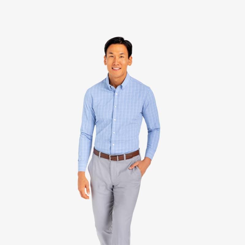 Leeward Dress Shirt - Blue Pink GlenPlaid, lifestyle/model